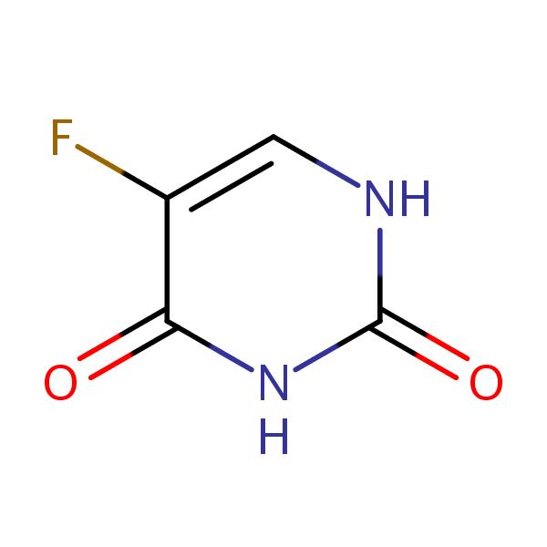 5-Fluorouracil (5-FU, F5U) structural formula
