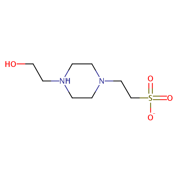 HEPES (4-(2-hydroxyethyl)-1-piperazineethanesulfonic Acid) structural formula